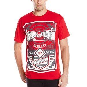 Men's Red Graphic Print Crew T-Shirt